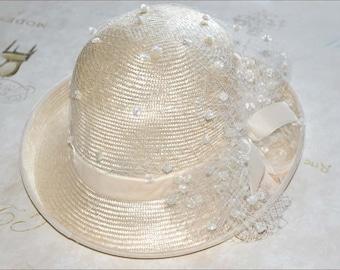Ivory Straw Hat, Ivory Hat, Ivory Straw Bowler, Ivory Bowler, Ivory Tulle Hat, White Straw Hat, White Hats, Ladies Ivory Hat