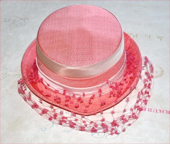 Coral Linen Hat Pale Pink Hat Coral Veil Hat Pink Veil Hat