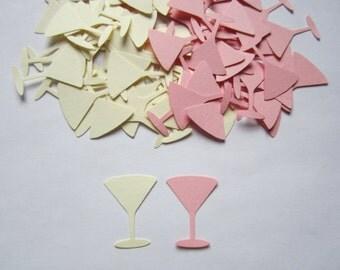 50 Martinez Glass Drink Beverage Pink Cream Ivony Party Supplies Die Cuts Confetti Congrulations Birthday Baby Shower Wedding