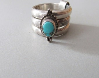 Native American Sterling Silver Triple Band Stacking Turquoise Ring