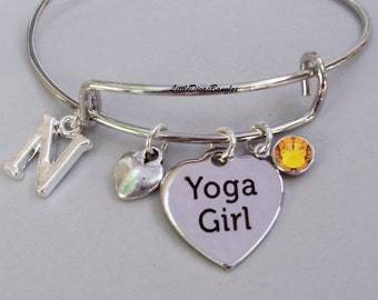 Silver YOGA Girl Charm Bangle / Bracelet W/ Birthstone Drop /  Under Twenty  / Gift For Her / Usa  Y1