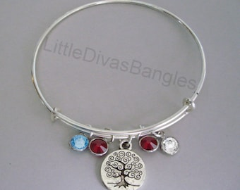 TREE Of LIFE CHARM Bangle  W/ Birhstone Drops / Gift For Her / Silver Infinity Accent / Under Twenty / Usa  TR1