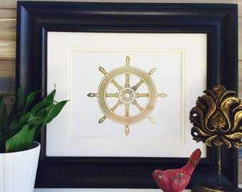 steering wheel gold foil print ship wheel wall art beach home decor nautical print - Ocean Decor