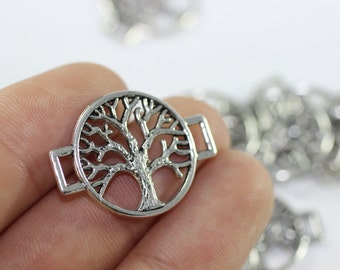 8 Pcs Antique Silver Tree of Life Charm, 20mm x 27mm Tree of Life Bracelet Connectors - Jewelry Connectors