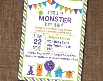 Monster Baby Shower Invitation - Monster Party Invitation - Baby Shower Invite - Edit yourself at home!