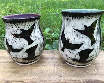 Birds in Flight mug Sgraffito