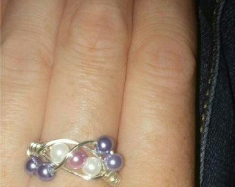 Handmade faux pearl wire ring