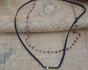 Amethyst Druzy Quartz Pendant Necklace