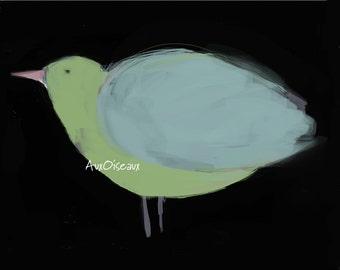 Oiseau bleu, vert, rose, pastel, fond noir, dessin numérique original, impression de qualité, type giclée. Cadre non-inclus.