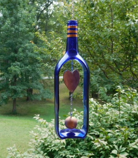 Wine bottle wind chime gifts for mom by bottlesuncorked on for Outdoor decorating with wine bottles