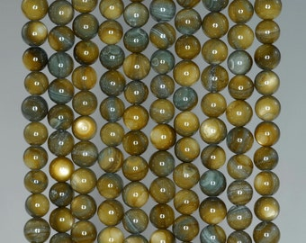 6mm Olive Green Sheen Shell Gemstone Round Loose Beads 15.5 inch Full Strand BULK LOT 1,2,6,12 and 50 (90183956-360)