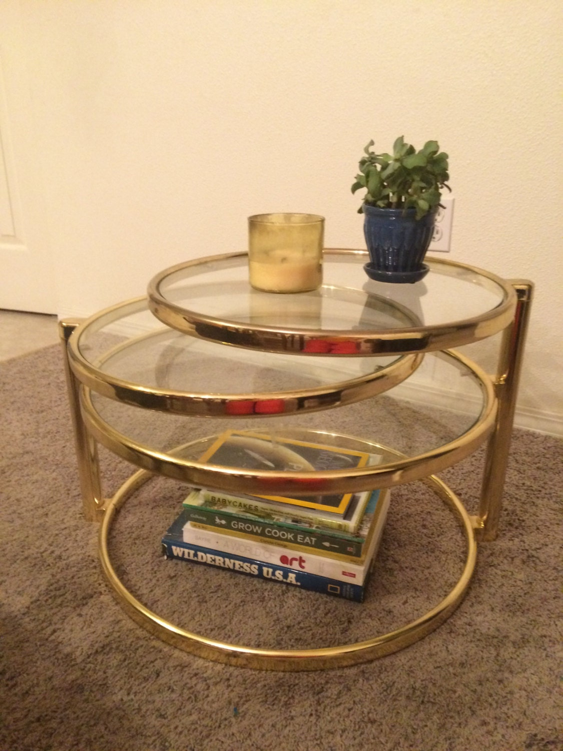 Vintage Mid Century Brass Swivel Table Coffee Table 3 Tier Round Glass Swing Out Table Hollywood Regency Modern Haute Juice