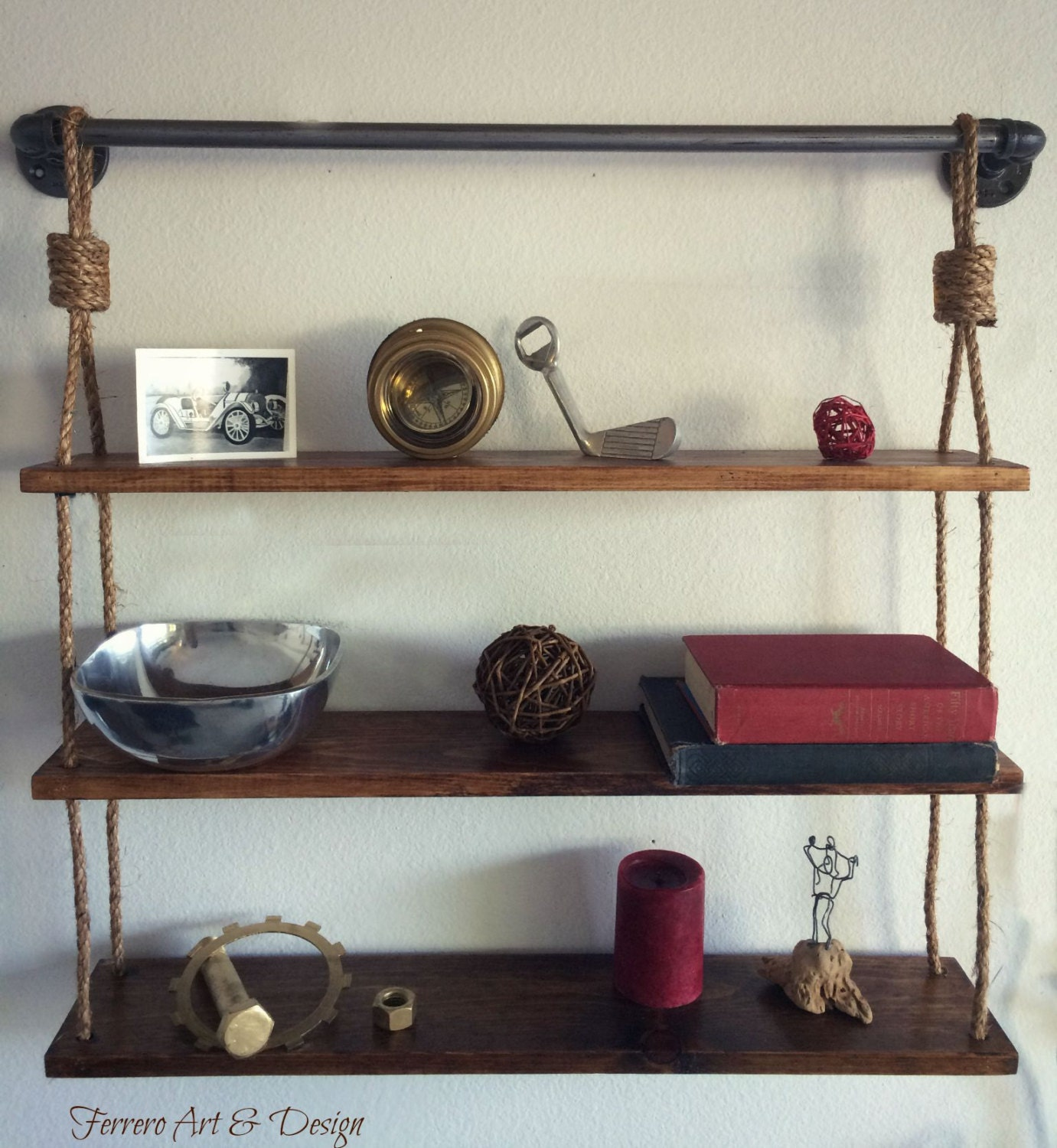Amazing photo of Rustic Hanging Shelf Shelves Rustic Shelves by FerreroArtDesign with #693C38 color and 1381x1500 pixels
