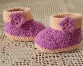 Booties baby socks children's clothing crochet purple cream for girls cotton wool baby shower