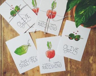 Veggie Love Puns - Set of 3 - 5x7's