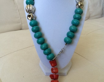 Turquoise and coral lariat with silver accents