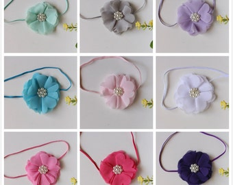 Baby Headband Flower Skinny Elastic Girl Hair Band Christening Newborn Photo Prop C43