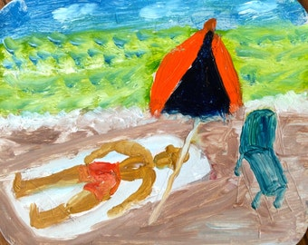 """A day at the beach, 4.5"""" x 5.5"""", Original Fine Art Oil Painting"""