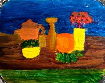 "Yellow Vase 4.5"" x 5.5"", Original Fine Art Oil Painting"