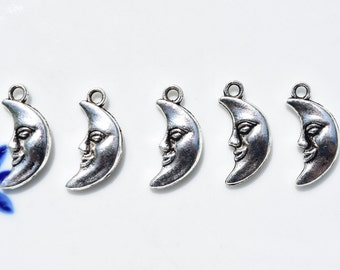 10 Man In The Moon Charms - Moon Charms - Quarter Moon Charms - Astrology Charms - Astronomy Charms - Moon Earring Charms -  Luna - SC612