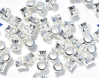 10 Silver Bails - European Bails - Silver Pendant Bails - European Bracelet Bails - Slider Bails - European Silver Slider Bails  - SC251