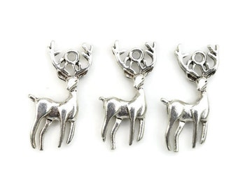 6 Deer Charms - Silver Stag Charms - Jewelry Supplies - Earring Charms - Hunting Charm - Antler Charms - Animal Charm - Nature Charm - SC392