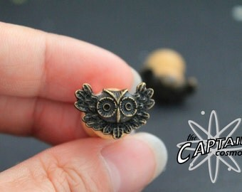 Brass owl plugs 10mm 00g gauges stretched ears Gothic kawaii