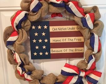 America Burlap Wreath