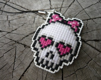 Cross stitch cell phone charm - sweet skull