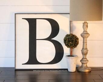 wood letter sign, large wooden letter, monogram, 24x24 letter, capital letter sign, alphabet art, uppercase letter, big letter, housewarming