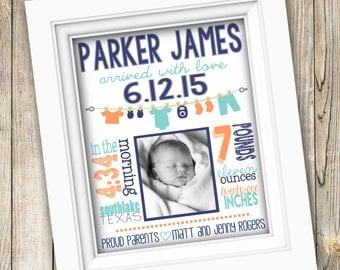 Baby Birth Stats Poster ~ Printable Birth Announcement ~ Personalized Digital Image ~ Birth Stats Print Nursery Wall Art Newborn Baby Gift