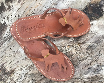 Pug Lady Flip Flops Shoes Leather handmade gift shoes