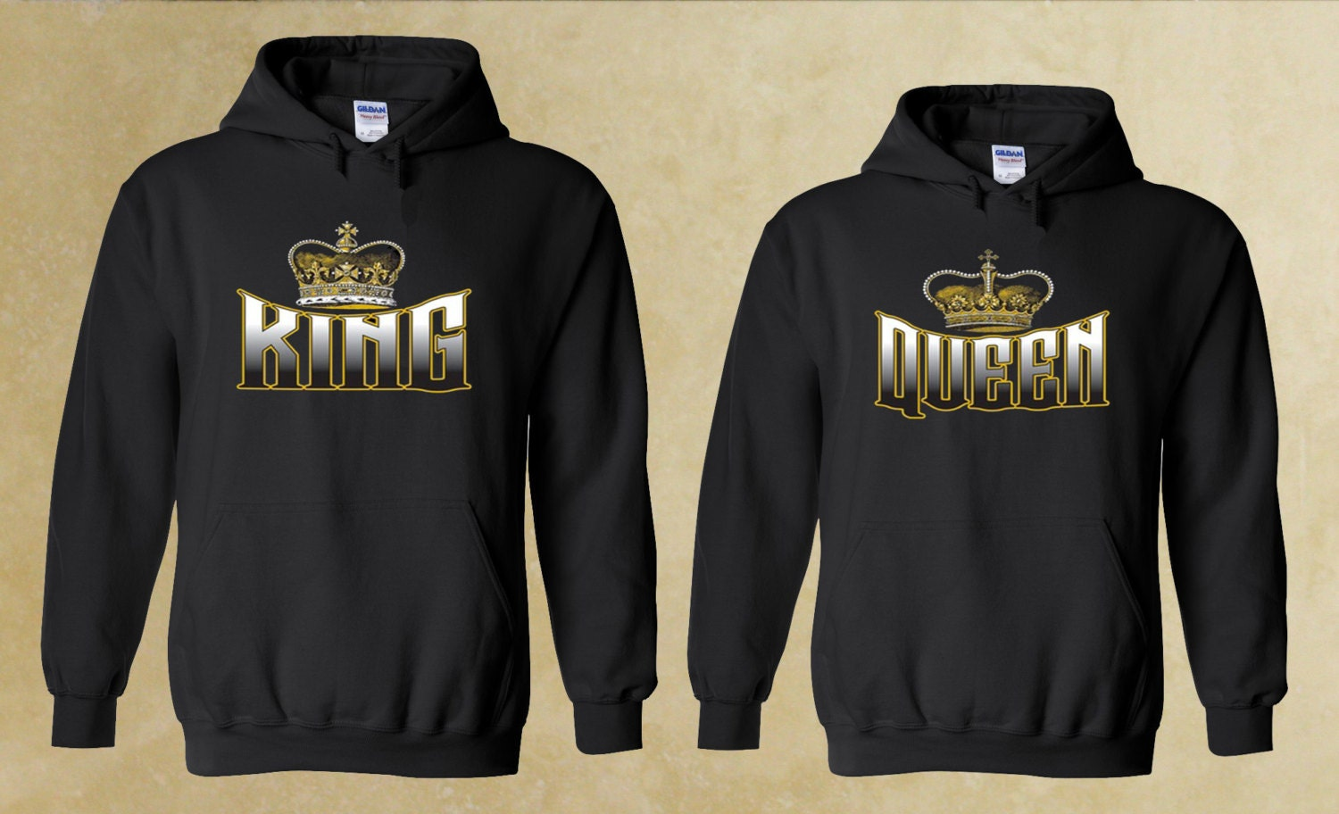 king and queen couple hoodie by forevercustomtees on etsy. Black Bedroom Furniture Sets. Home Design Ideas