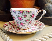 Queen Anne Bone China Chintz Cup and Saucer