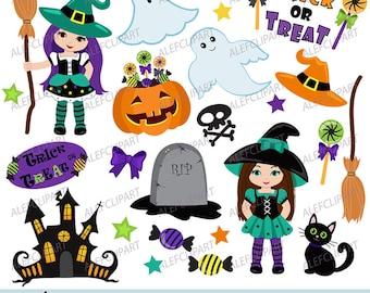 50% OFF SALE Trick or Treat - Digital Clipart Set, Halloween Clipart