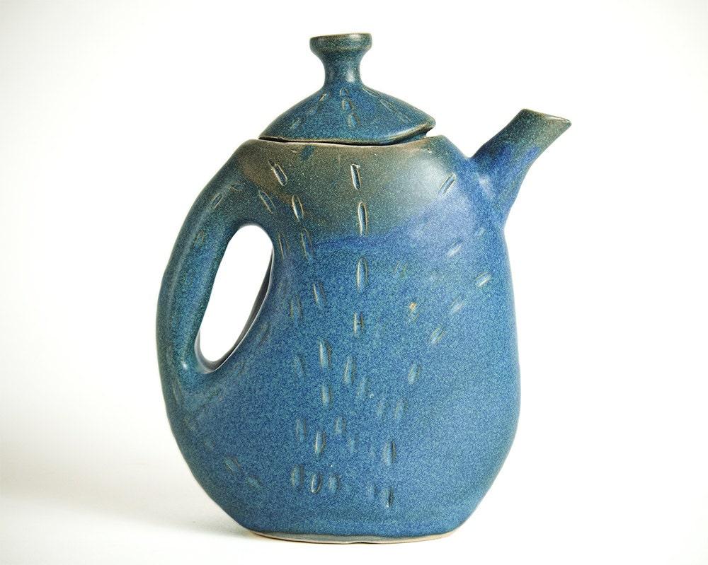 Blue Ceramic Teapot Pottery Teapot Unique Ceramic Teapot