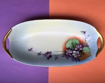 Vintage Bavaria Hand Painted Dish / Bavarian Porcelain