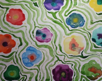 Vibrant Flowers Original Watercolor Painting