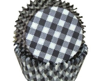 Black Gingham - Baking Cupcake Liners - 50 Count
