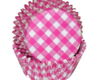 Pink Gingham - Baking Cupcake Liners - 50 Count