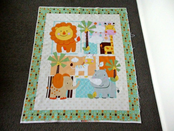 Baby quilt fabric gender neutral baby fabric jungle animal for Unisex baby fabric