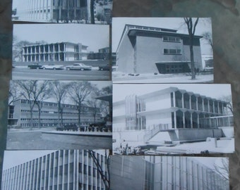 Original Photo Snapshot Mid Century Modern Architectural Buildings Detroit Lot 6