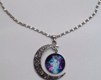 Pink Galaxy Universe Glass Cabochon Pendant Necklace. Fast Shipping from USA.