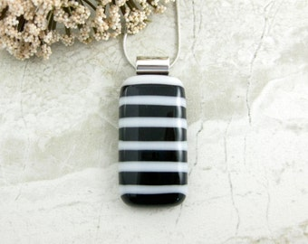 Black and White Fused Glass Pendant - Black and White Striped Rectangle Necklace