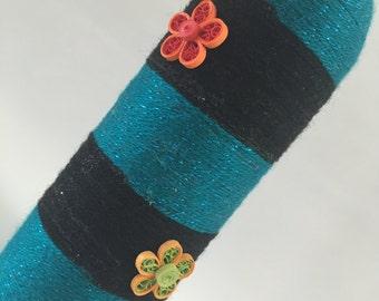 Bottle Art: Upcycled Bottle vase, Flower vase, Hand decorated Bottle with yarn