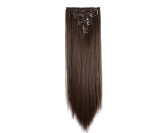 Hair extensions etsy 24 straight full head clip in synthetic hair extensions 7pcs 140g 8 medium pmusecretfo Choice Image