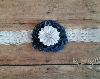 Lace and denim fall country baby headband