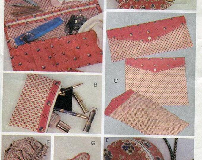 FREE US SHIP McCall's 7842 Jann Johnson Organizer Bags Hair Bonnet Curler Bag Slippers Clutch Wallet Jewelry Case 1981 Uncut
