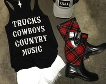 Trucks Cowboys Country Music Poolside Fun & Flirty Tank, Beach Tank, Concert Tank