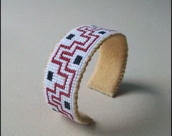 Native American Style Beaded Cuff Bracelet, Lenape Inspired, Loom Beadwork
